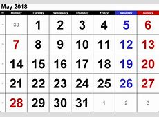 2018 May Calendar Large Number Free HD Images