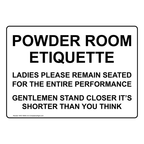 powder room etiquette ladies remain seated sign nhe