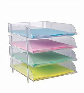 clear stackable letter tray 4ct plastic paper tray bin With clear plastic stackable letter trays