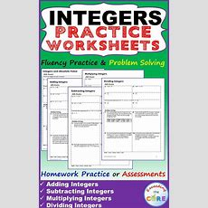 Integers Homework Practice Worksheets  Skills Practice With Word Problems  5 Integer Practice