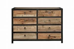 Commode Bois Metal : commode industrielle 8 tiroirs co01 rose moore ~ Teatrodelosmanantiales.com Idées de Décoration