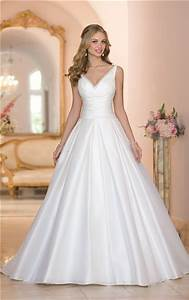 simple ball gown v neck low back ruched taffeta wedding With simple ball gown wedding dresses