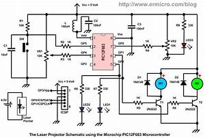 building your own simple laser projector using the With the schematic shows the microcontroller that was used along with the