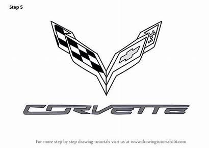 Corvette Draw Drawing Step Logos Silhouette Tutorials