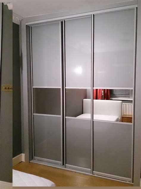 Glass Wardrobe by Sliding Door Closet With Grey Glass Sliding Wardrobes