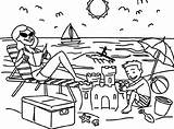 Coloring Vacation Beach Sand Castle Making Summer Drawing Pages sketch template