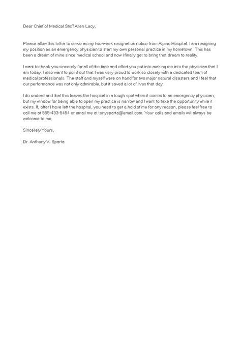 Professional Medical Resignation Letter   Templates at allbusinesstemplates.com