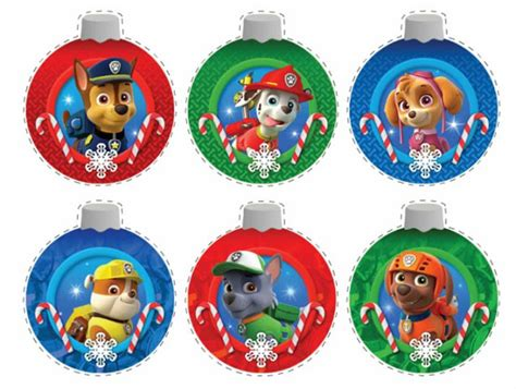 paw patrol  printable christmas ornaments