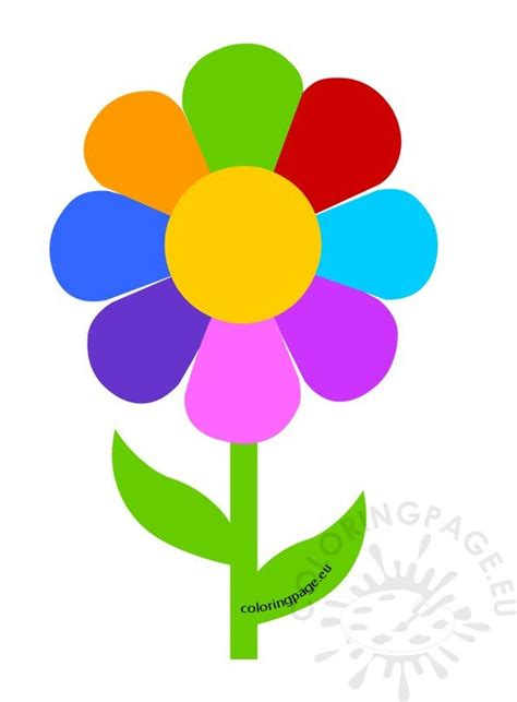 multicolored flower petals coloring page