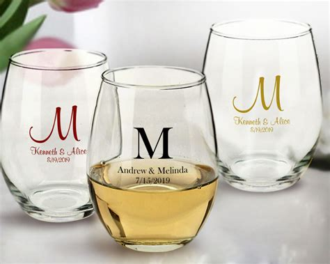 monogrammed stemless wine glasses  oz arc cachet