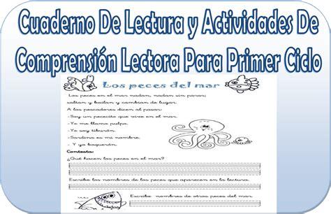 cuaderno de lectura y actividades de comprensi 243 n lectora para primer ciclo educaci 243 n primaria