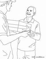 Coloring Postman Drawing Office Parcel Job sketch template
