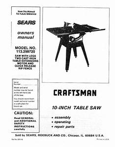 1990 Craftsman 113 298720 10 U0026quot  Table Saw Instructions