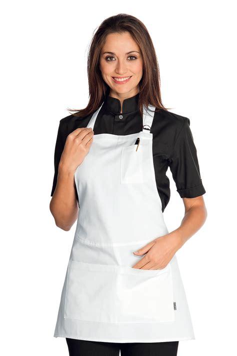 veste cuisine femme pas cher tablier court à bavette piccadilly blanc tablier de serveur