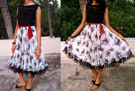 Boat Neck Frock by Black Velvet Floral Work With Boat Neck And Crape With