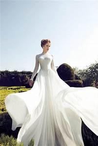 Dress classic white classic wedding dress flowy dress for White flowy wedding dress