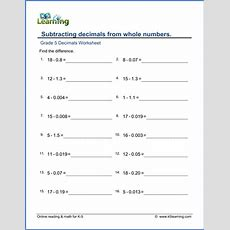 Grade 5 Addition & Subtraction Of Decimals Worksheets  K5 Learning