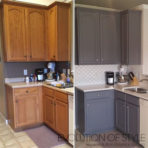 gray painted kitchen cabinets before and after updated oak kitchens