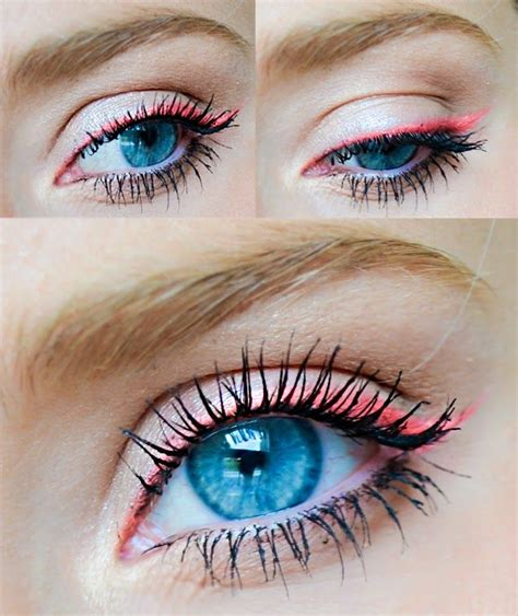 neon pink nyx eyeshadow  eyeliner    blue