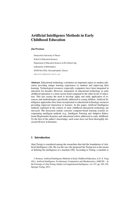 (PDF) Artificial Intelligence Methods in Early Childhood