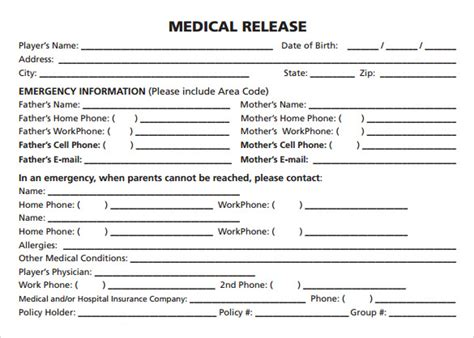 sample medical release forms   ms word