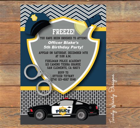 police birthday invitation printable  twirlydesigns