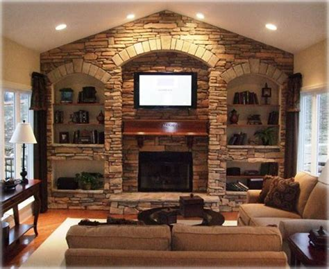 Stone Wall With Fireplace And Built-ins. Would Love This!