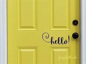 hello decal front door greeting wall decal vinyl lettering With door lettering decals
