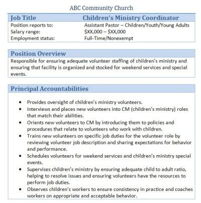 Volunteer Coordinator Description by 45 Free Downloadable Sle Church Descriptions