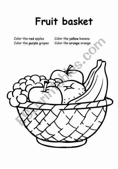 Fruit Basket Coloring Worksheet Fruits Esl Worksheets
