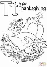 Coloring Letter Thanksgiving Pages Printable Tiger Alphabet Preschool Puzzle Crafts Supercoloring sketch template