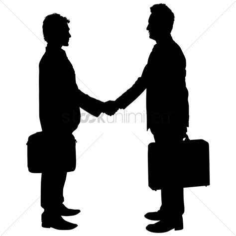 desk for two persons businessman shaking silhouette vector image