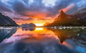 Landscape, Nature, Midnight, Sun, Sky, Norway, Summer, Fjord, Village, Mountain, Island, Clouds