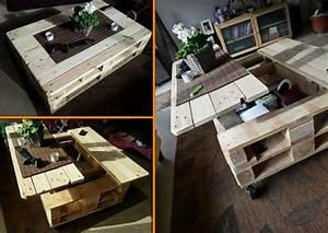 Table Basse Palettes : la table basse relevable pour votre salon fonctionnel ~ Melissatoandfro.com Idées de Décoration