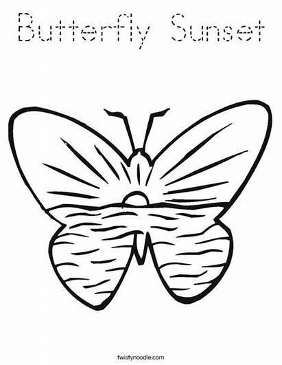 Sunset Coloring Pages Beach Butterfly Sunrise Butterflies