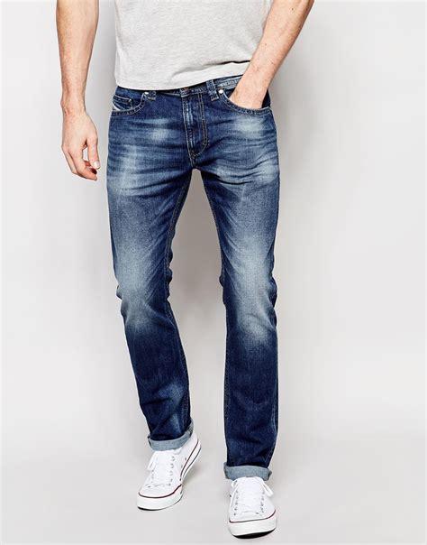 light blue jeans mens slim fit diesel jeans thavar 848c slim fit stretch light wash