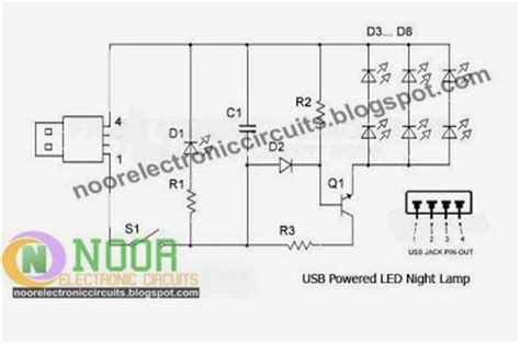 Noor Electronic Circuits Usb Powered Led Night Lamp Circuit
