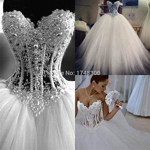 euro new style corset bodice sheer wedding dresses pearls With see through bodice wedding dress