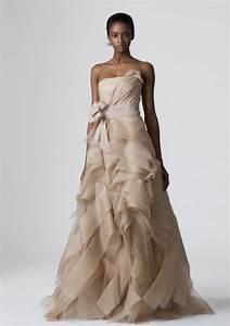 strapless beige vera wang a line wedding dress With tan wedding dress