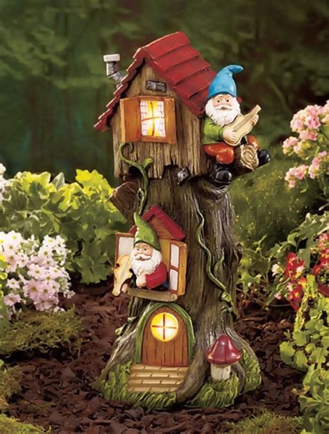solar powered gnome tree house light garden statue lawn