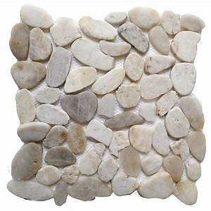 Islander White Shell 12 in x 12 in Sliced Natural Pebble