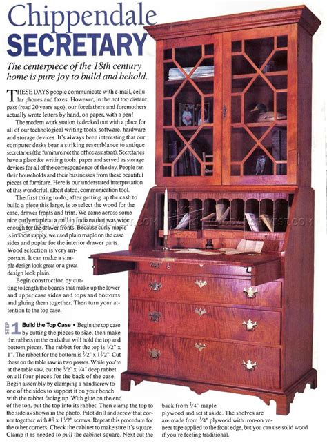 chippendale secretary desk plans woodarchivist