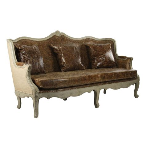 french country leather sofa adele french country top grain leather burlap barrel back