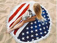 american flag towel Fringed Round Beach Towel With Usa Flag - American Dreamer