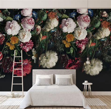 Make Home Bloom Floral Wallpaper Ideas by Bacaz Black Bottom Large Papel Murals 3d Flower