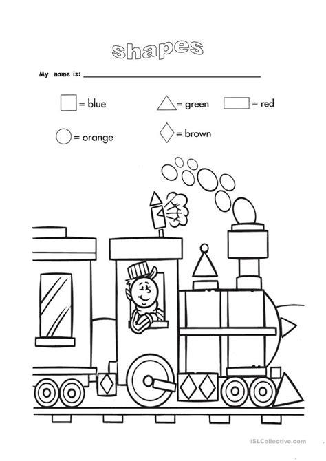 shapes  colours worksheet  esl printable