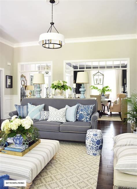 Living Room With Blue Decor by Shades Of Summer Home Tour With Beautiful Blues And Fresh