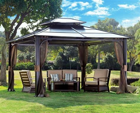 hardtop metal steel roof outdoor patio gazebo aluminum poles sunjoy ebay