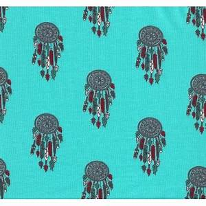 Tissu Attrape Reve : tissu jersey turquoise attrape r ve largeur 145cm x 50cm ~ Teatrodelosmanantiales.com Idées de Décoration