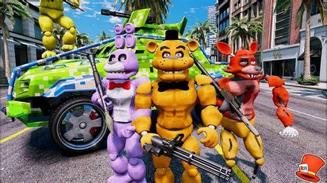 Buff Animatronic Crime Fighting Team! (gta 5 Mods For Kids